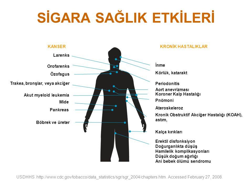 SİGARA SAĞLIK ETKİLERİ Larenks Orofarenks Özofagus Trakea, bronşlar, veya akciğer Akut myeloid leukemia Mide Pankreas Böbrek ve üreter İnme Körlük, ka