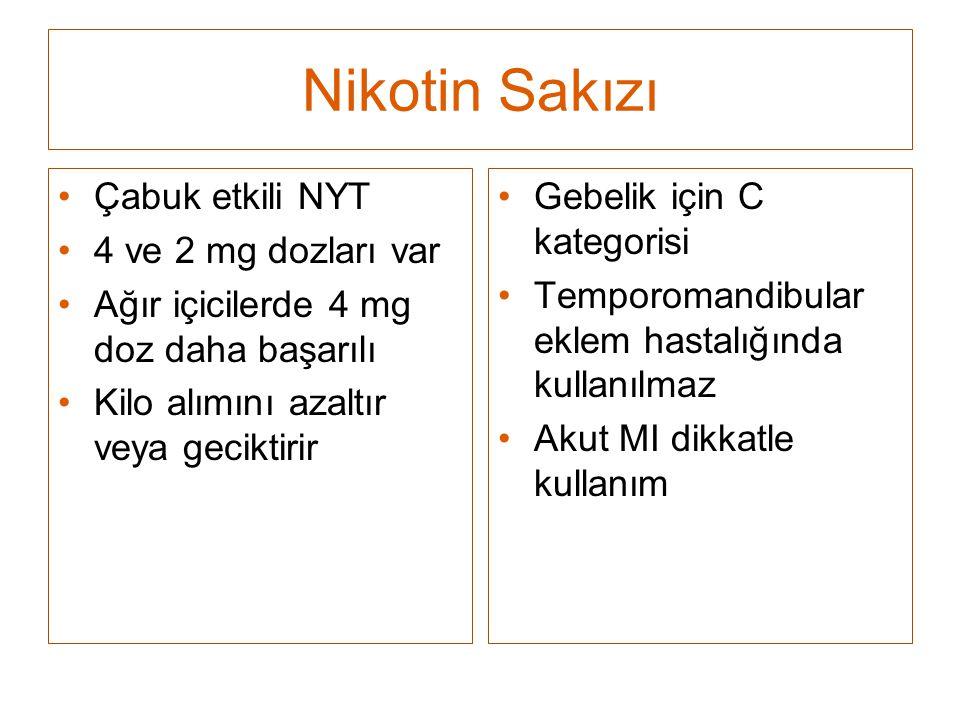 Nikotin Sakızı Çabuk etkili NYT 4 ve 2 mg dozları var Ağır içicilerde 4 mg doz daha başarılı Kilo alımını azaltır veya geciktirir Gebelik için C kateg