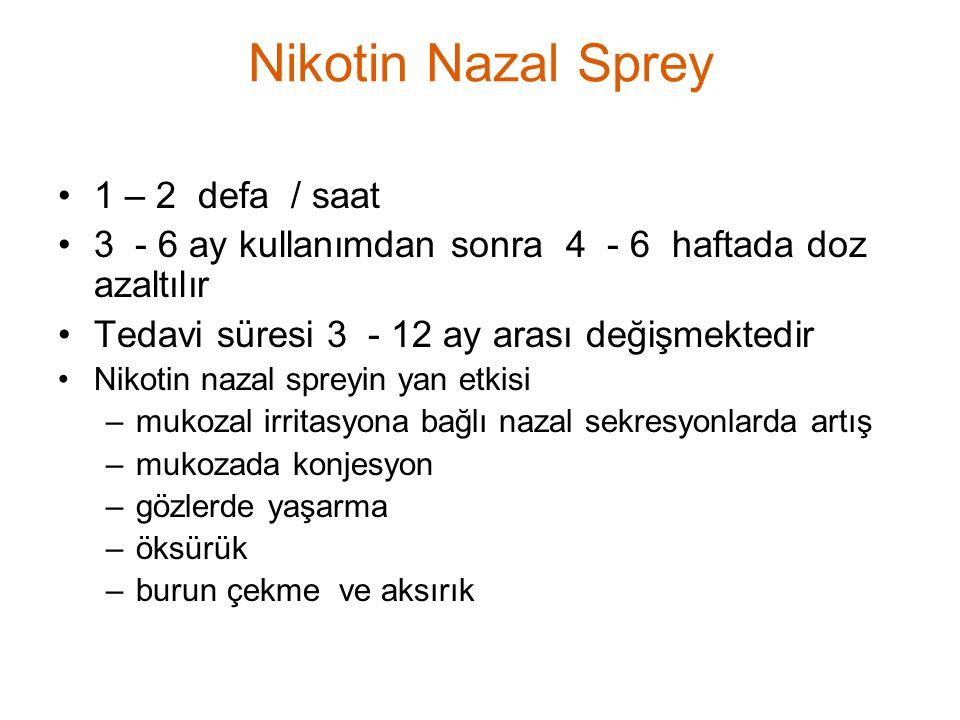 1 – 2 defa / saat 3 - 6 ay kullanımdan sonra 4 - 6 haftada doz azaltılır Tedavi süresi 3 - 12 ay arası değişmektedir Nikotin nazal spreyin yan etkisi