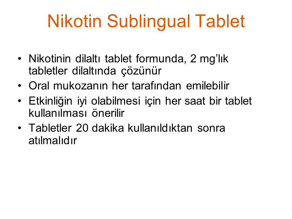 Nikotin Sublingual Tablet Nikotinin dilaltı tablet formunda, 2 mg'lık tabletler dilaltında çözünür Oral mukozanın her tarafından emilebilir Etkinliğin