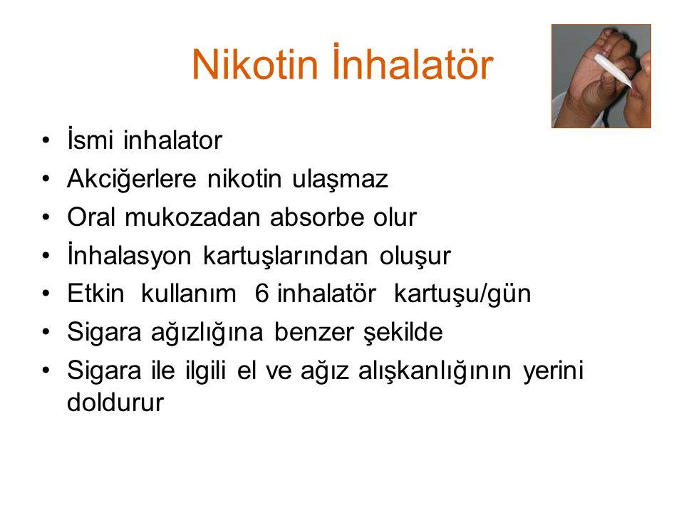 Nikotin İnhalatör İsmi inhalator Akciğerlere nikotin ulaşmaz Oral mukozadan absorbe olur İnhalasyon kartuşlarından oluşur Etkin kullanım 6 inhalatör k