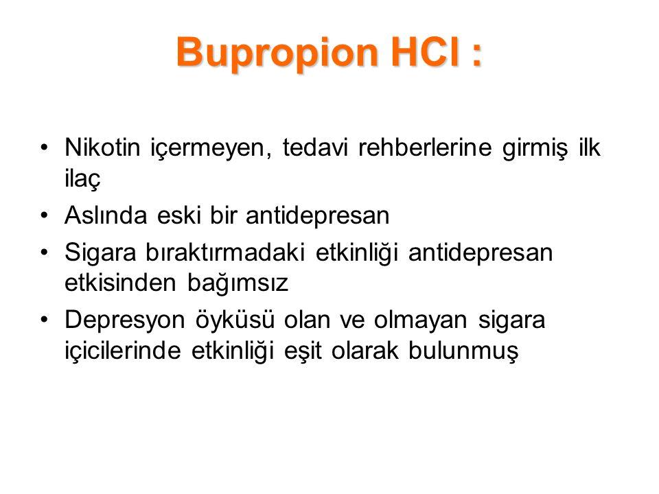 Bupropion HCl : Nikotin içermeyen, tedavi rehberlerine girmiş ilk ilaç Aslında eski bir antidepresan Sigara bıraktırmadaki etkinliği antidepresan etki