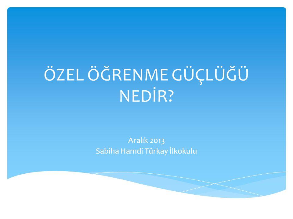 ÖZEL ÖĞRENME GÜÇLÜĞÜ NEDİR? Aralık 2013 Sabiha Hamdi Türkay İlkokulu