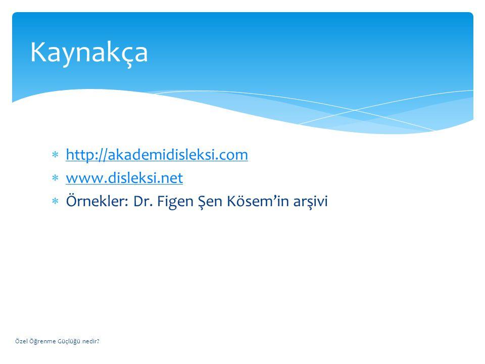  http://akademidisleksi.com http://akademidisleksi.com  www.disleksi.net www.disleksi.net  Örnekler: Dr. Figen Şen Kösem'in arşivi Özel Öğrenme Güç