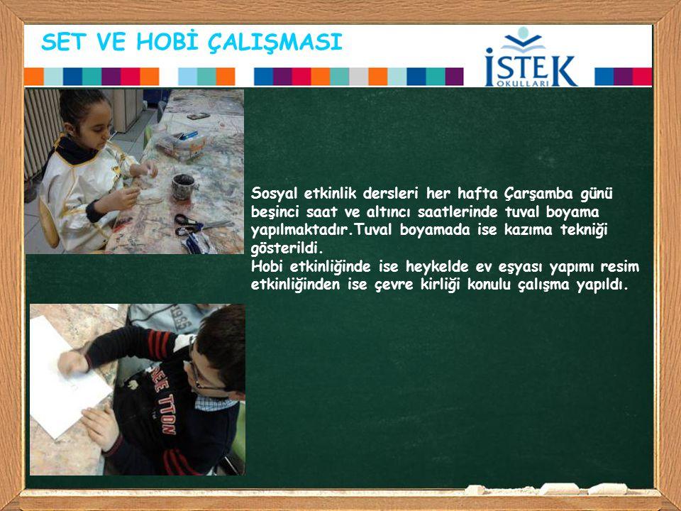 SET VE HOBİ ÇALIŞMASI Sosyal etkinlik dersleri her hafta Çarşamba günü beşinci saat ve altıncı saatlerinde tuval boyama yapılmaktadır.Tuval boyamada i