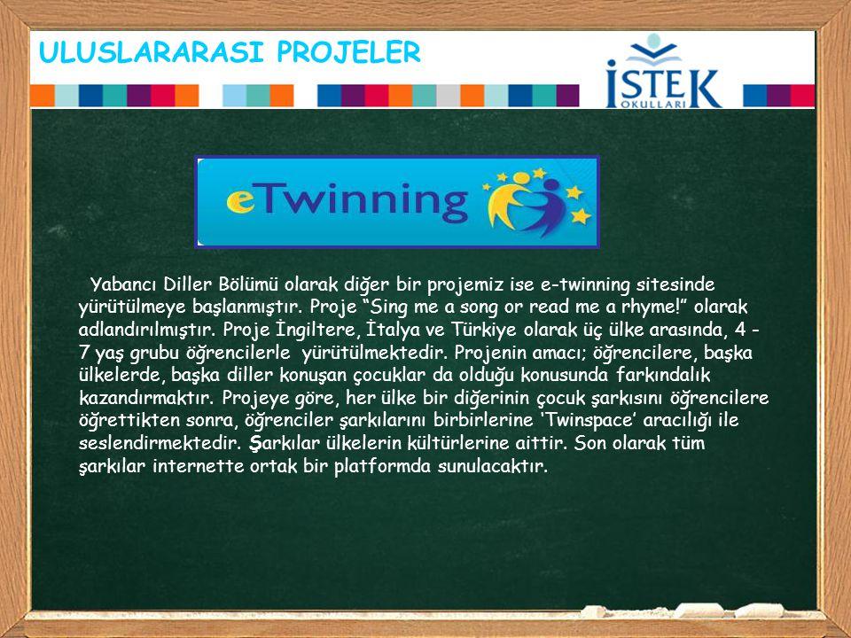 """ULUSLARARASI PROJELER Yabancı Diller Bölümü olarak diğer bir projemiz ise e-twinning sitesinde yürütülmeye başlanmıştır. Proje """"Sing me a song or read"""