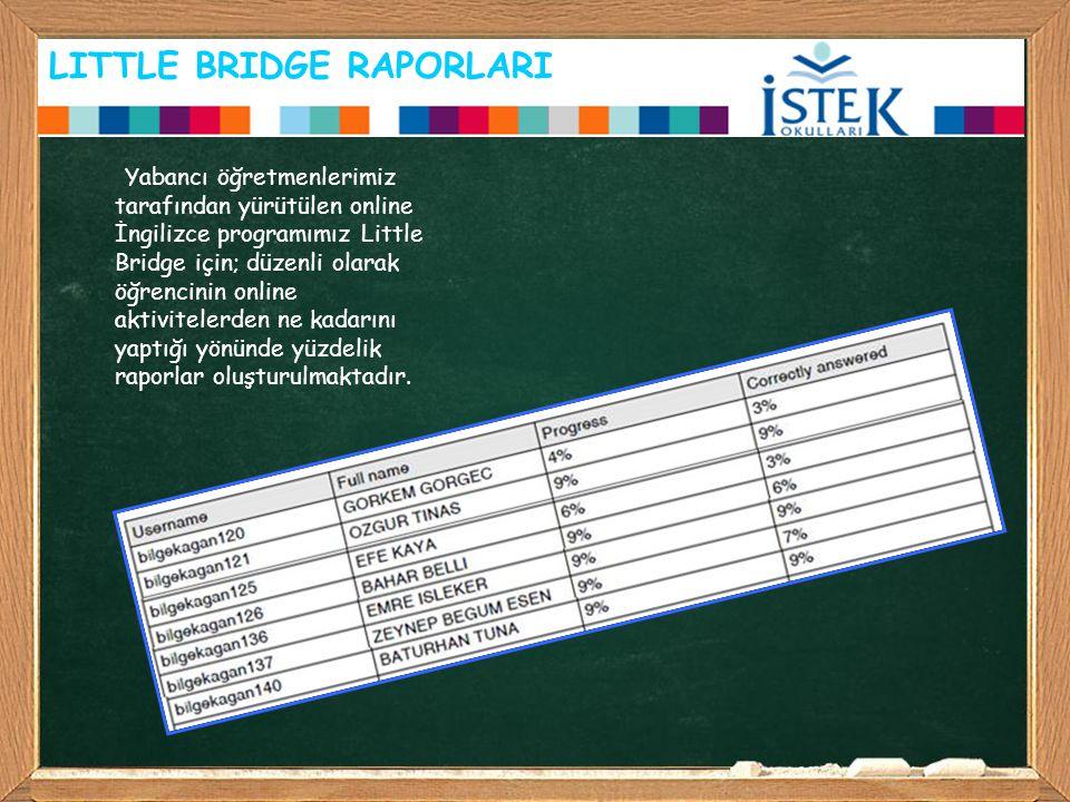 LITTLE BRIDGE RAPORLARI Yabancı öğretmenlerimiz tarafından yürütülen online İngilizce programımız Little Bridge için; düzenli olarak öğrencinin online