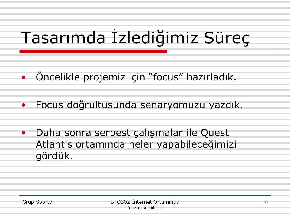 Grup SportyBTO302-İnternet Ortamında Yazarlık Dilleri 4 Tasarımda İzlediğimiz Süreç Öncelikle projemiz için focus hazırladık.