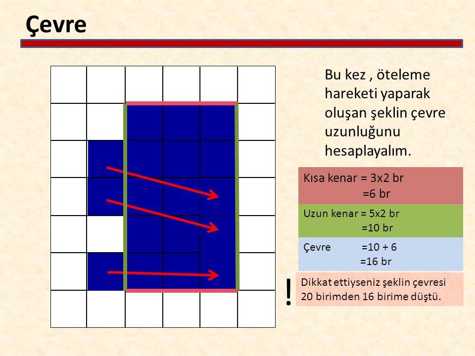 Çevre Bu kez, öteleme hareketi yaparak oluşan şeklin çevre uzunluğunu hesaplayalım. Kısa kenar = 3x2 br =6 br Uzun kenar = 5x2 br =10 br Çevre =10 + 6