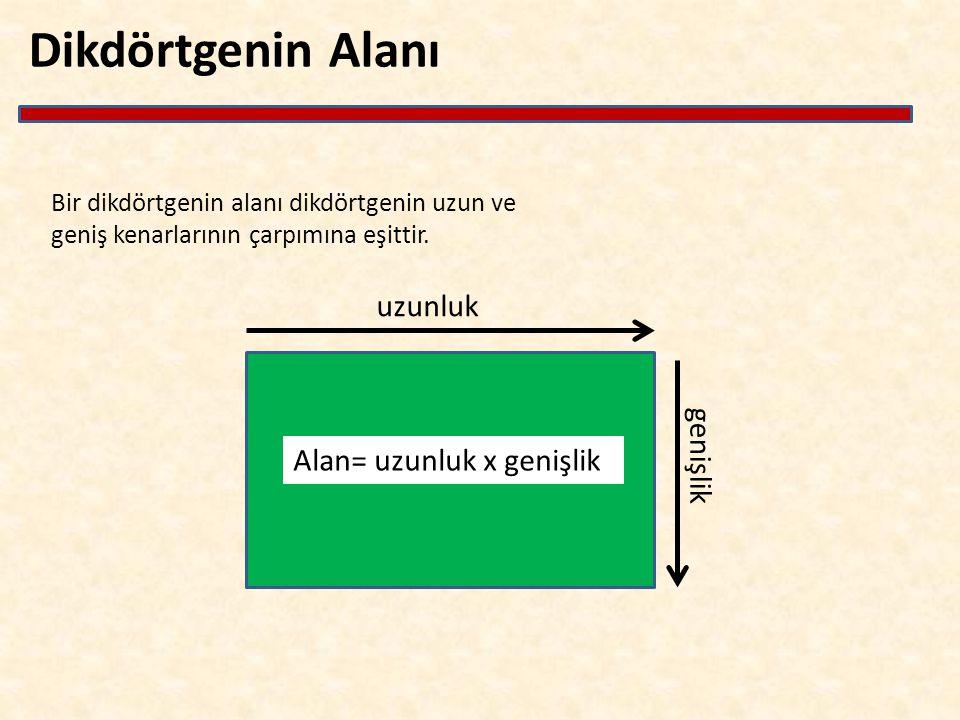 uzunluk genişlik Alan= uzunluk x genişlik Bir dikdörtgenin alanı dikdörtgenin uzun ve geniş kenarlarının çarpımına eşittir.