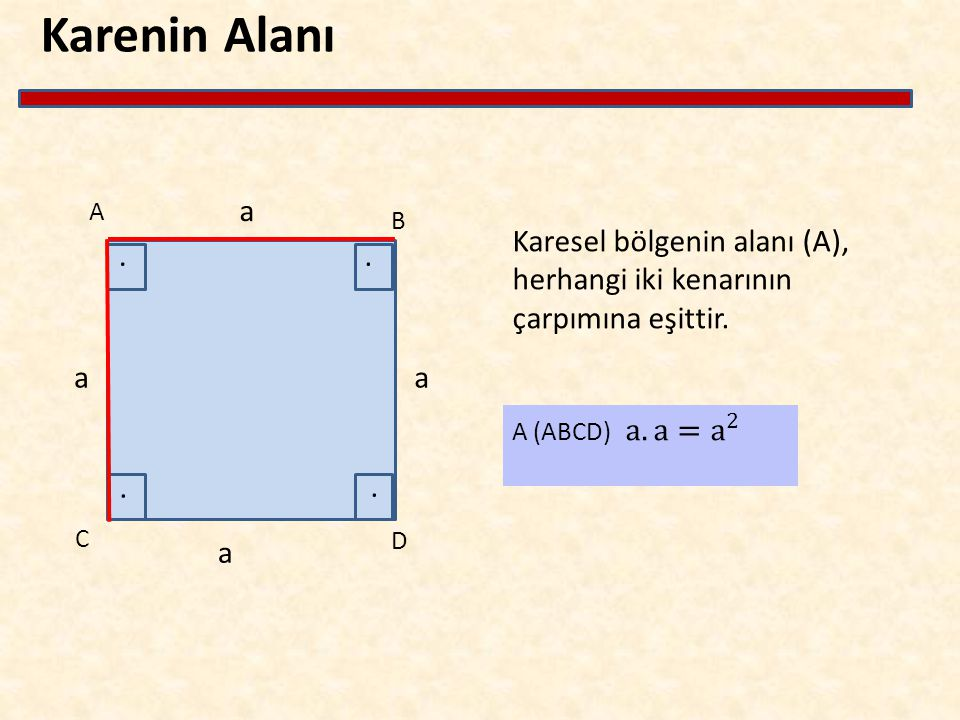 Karenin Alanı Karesel bölgenin alanı (A), herhangi iki kenarının çarpımına eşittir. A B C D a a a a....
