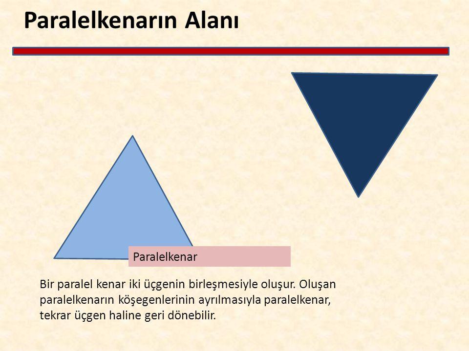 Paralelkenarın Alanı Bir paralel kenar iki üçgenin birleşmesiyle oluşur. Oluşan paralelkenarın köşegenlerinin ayrılmasıyla paralelkenar, tekrar üçgen