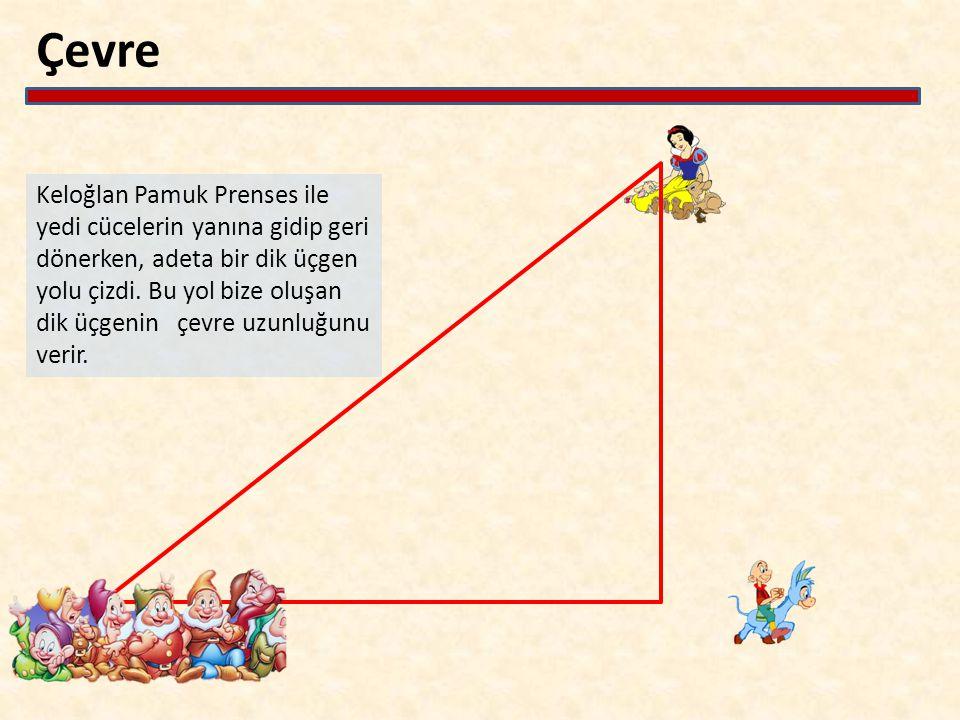 Çevre Keloğlan Pamuk Prenses ile yedi cücelerin yanına gidip geri dönerken, adeta bir dik üçgen yolu çizdi. Bu yol bize oluşan dik üçgenin çevre uzunl