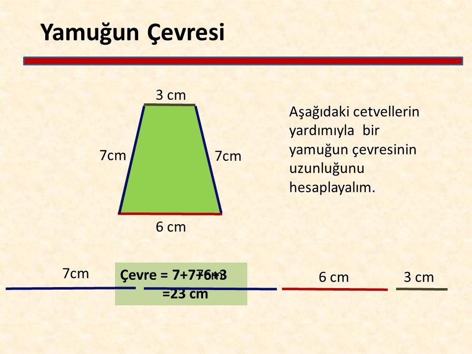 Yamuğun Çevresi Çevre = 7+7+6+3 =23 cm 6 cm 7cm 3 cm Aşağıdaki cetvellerin yardımıyla bir yamuğun çevresinin uzunluğunu hesaplayalım. 7cm 6 cm 3 cm