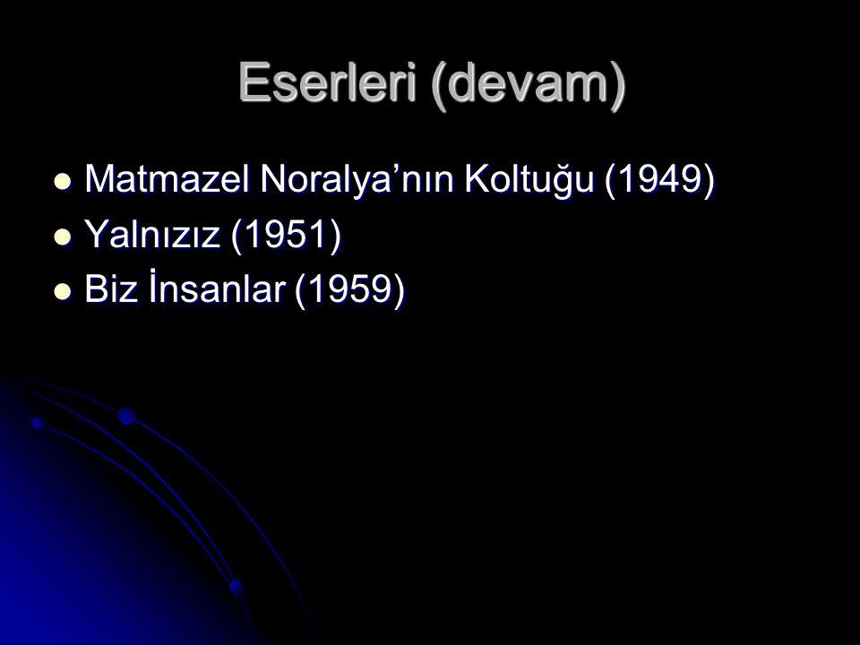 Eserleri (devam) Matmazel Noralya'nın Koltuğu (1949) Matmazel Noralya'nın Koltuğu (1949) Yalnızız (1951) Yalnızız (1951) Biz İnsanlar (1959) Biz İnsanlar (1959)