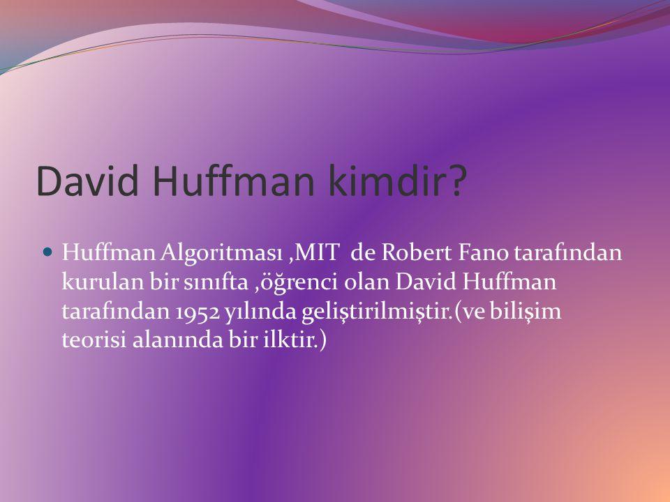 Şimdi örneğimizdeki gibi bir frekans tablosuna sahip olan metnin Huffman algoritması ile ne oranda sıkışacağını bulalım : Sıkıştırma öncesi gereken bit sayısını bulacak olursak : Her bir karakter eşit uzunlukta yani 8 bit ile temsil edildiğinden toplam karakter sayısı olan (50+35+20+10+8+4) = 127 ile 8 sayısını çarpmamız lazım.