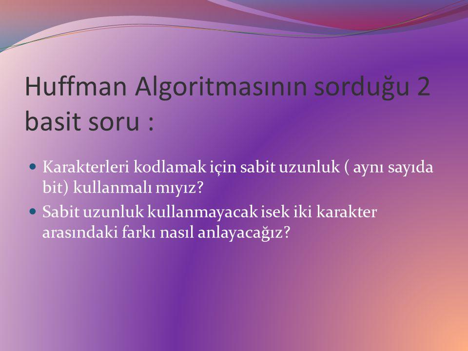 Huffman Algoritmasının sorduğu 2 basit soru : Karakterleri kodlamak için sabit uzunluk ( aynı sayıda bit) kullanmalı mıyız.