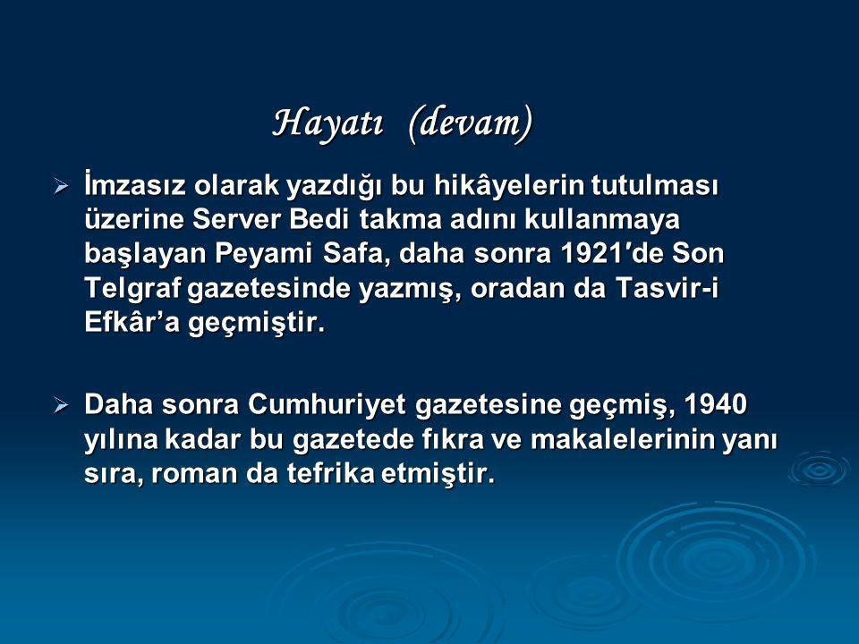 İmzasız olarak yazdığı bu hikâyelerin tutulması üzerine Server Bedi takma adını kullanmaya başlayan Peyami Safa, daha sonra 1921′de Son Telgraf gaze