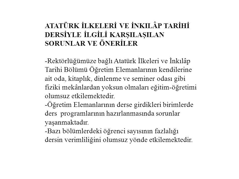 ATATÜRK İLKELERİ VE İNKILÂP TARİHİ DERSİYLE İLGİLİ KARŞILAŞILAN SORUNLAR VE ÖNERİLER -Rektörlüğümüze bağlı Atatürk İlkeleri ve İnkılâp Tarihi Bölümü Ö