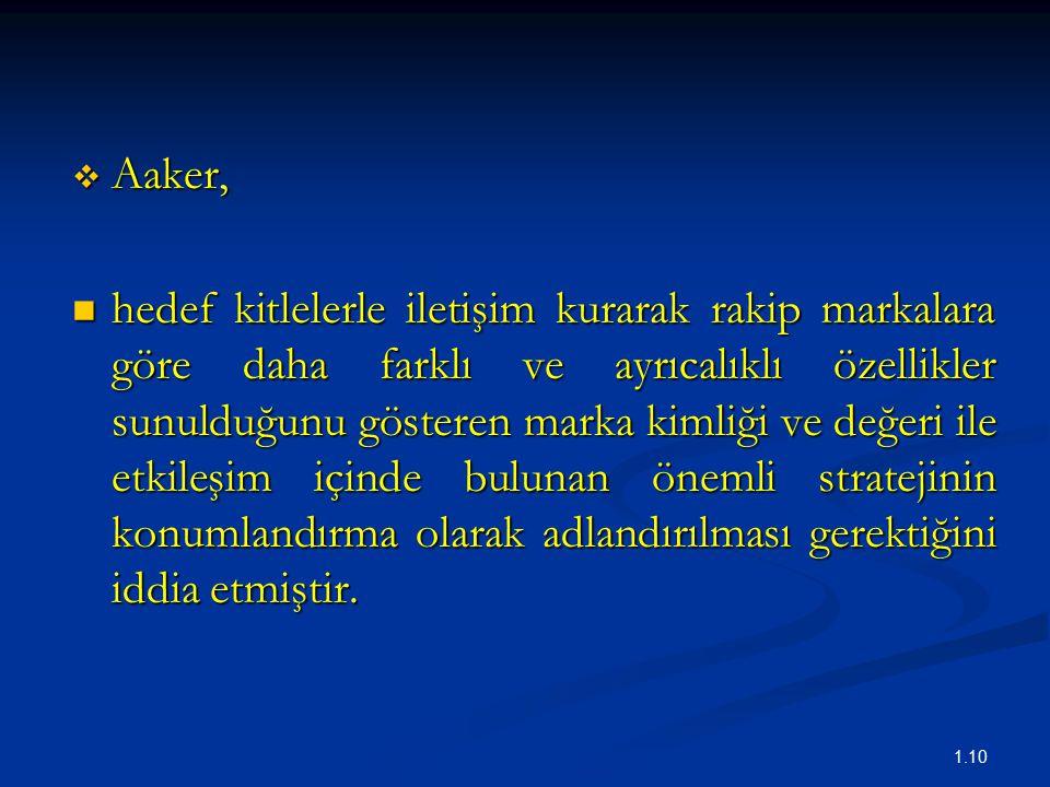 1.10  Aaker, hedef kitlelerle iletişim kurarak rakip markalara göre daha farklı ve ayrıcalıklı özellikler sunulduğunu gösteren marka kimliği ve değeri ile etkileşim içinde bulunan önemli stratejinin konumlandırma olarak adlandırılması gerektiğini iddia etmiştir.