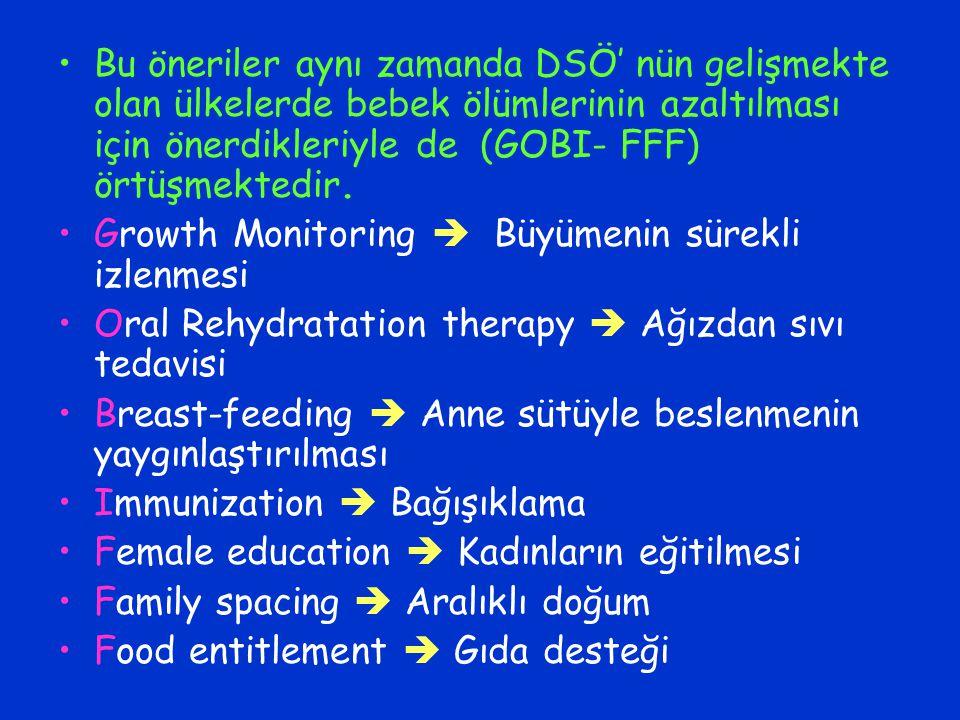 Bu öneriler aynı zamanda DSÖ' nün gelişmekte olan ülkelerde bebek ölümlerinin azaltılması için önerdikleriyle de (GOBI- FFF) örtüşmektedir. Growth Mon