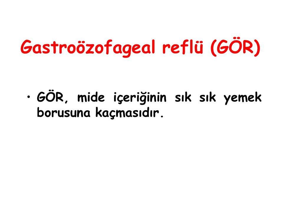 Gastroözofageal reflü (GÖR) GÖR, mide içeriğinin sık sık yemek borusuna kaçmasıdır.