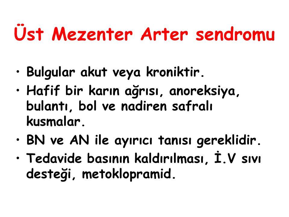 Üst Mezenter Arter sendromu Bulgular akut veya kroniktir. Hafif bir karın ağrısı, anoreksiya, bulantı, bol ve nadiren safralı kusmalar. BN ve AN ile a