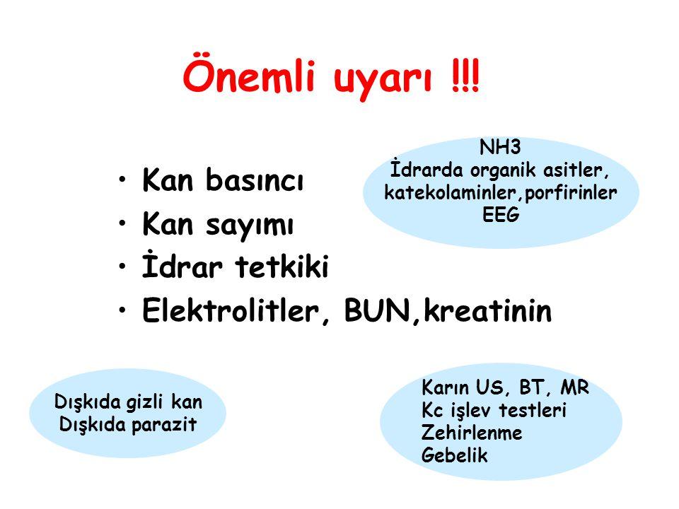 Kan basıncı Kan sayımı İdrar tetkiki Elektrolitler, BUN,kreatinin Önemli uyarı !!.