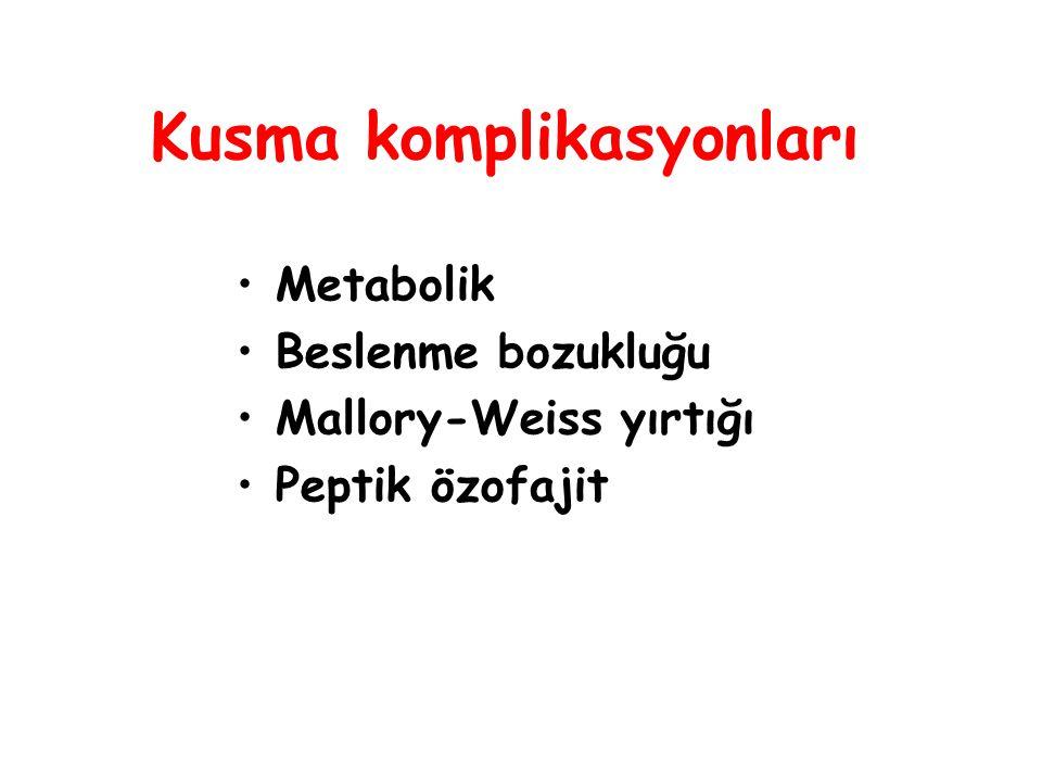 Kusma komplikasyonları Metabolik Beslenme bozukluğu Mallory-Weiss yırtığı Peptik özofajit
