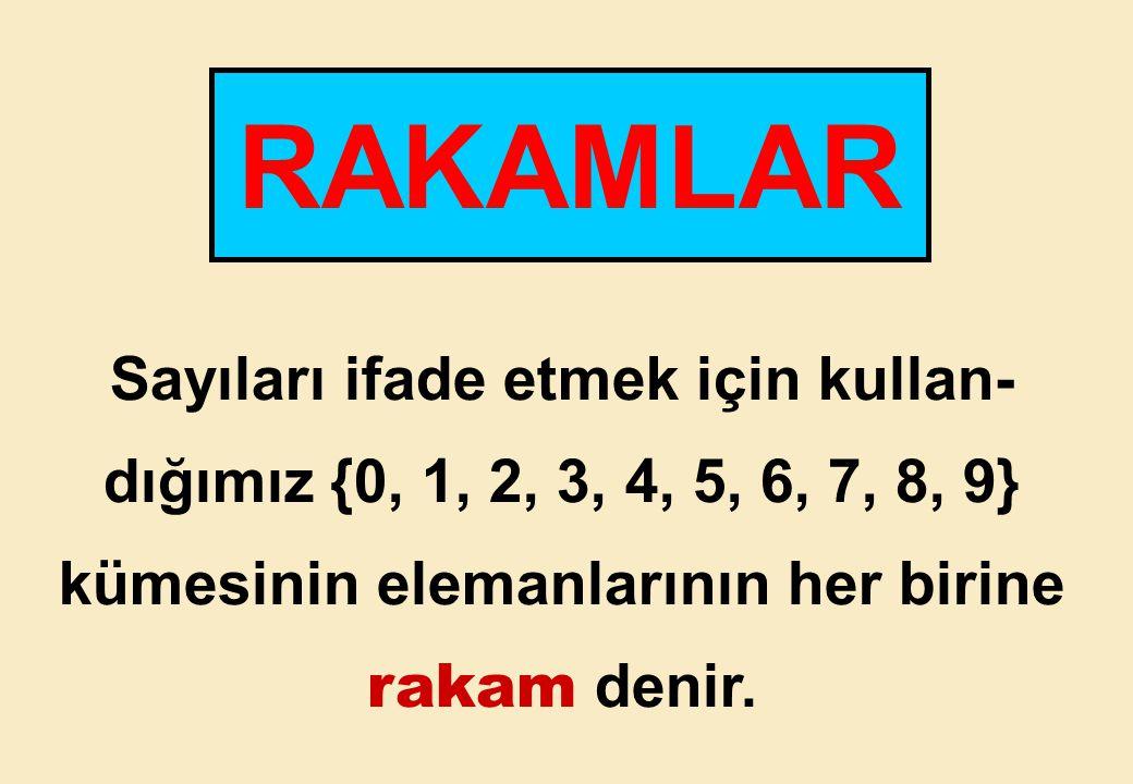 Sayıları ifade etmek için kullan- dığımız {0, 1, 2, 3, 4, 5, 6, 7, 8, 9} kümesinin elemanlarının her birine rakam denir.
