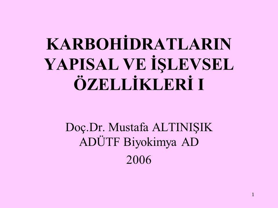 1 KARBOHİDRATLARIN YAPISAL VE İŞLEVSEL ÖZELLİKLERİ I Doç.Dr. Mustafa ALTINIŞIK ADÜTF Biyokimya AD 2006