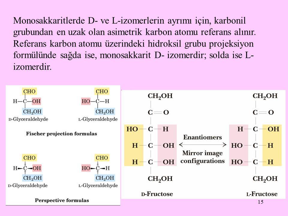 15 Monosakkaritlerde D- ve L-izomerlerin ayrımı için, karbonil grubundan en uzak olan asimetrik karbon atomu referans alınır. Referans karbon atomu üz