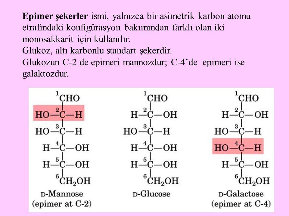 19 Epimer şekerler ismi, yalnızca bir asimetrik karbon atomu etrafındaki konfigürasyon bakımından farklı olan iki monosakkarit için kullanılır. Glukoz