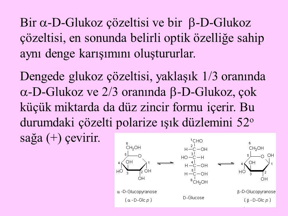 31 Bir  -D-Glukoz çözeltisi ve bir  -D-Glukoz çözeltisi, en sonunda belirli optik özelliğe sahip aynı denge karışımını oluştururlar. Dengede glukoz