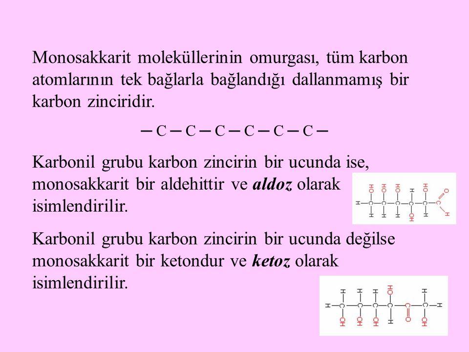 9 Monosakkarit moleküllerinin omurgası, tüm karbon atomlarının tek bağlarla bağlandığı dallanmamış bir karbon zinciridir. ─ C ─ C ─ C ─ C ─ C ─ C ─ Ka