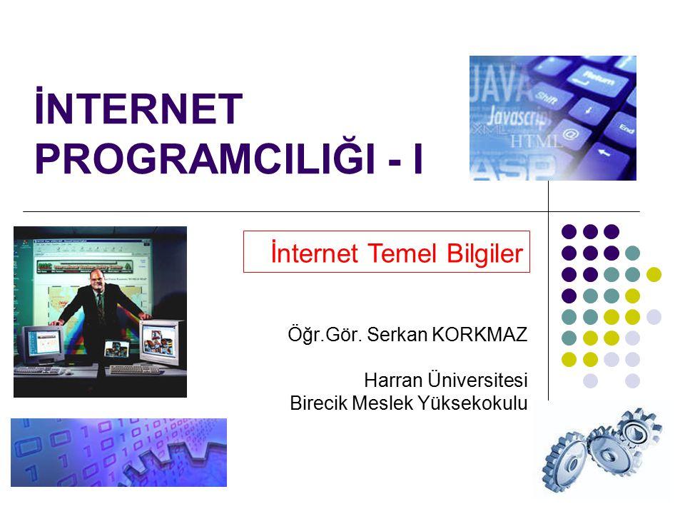 1 İNTERNET PROGRAMCILIĞI - I İnternet Temel Bilgiler Öğr.Gör. Serkan KORKMAZ Harran Üniversitesi Birecik Meslek Yüksekokulu