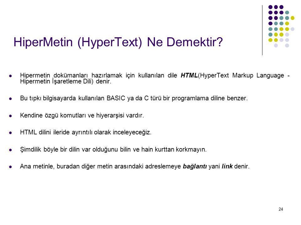 24 HiperMetin (HyperText) Ne Demektir? Hipermetin dokümanları hazırlamak için kullanılan dile HTML(HyperText Markup Language - Hipermetin İşaretleme D