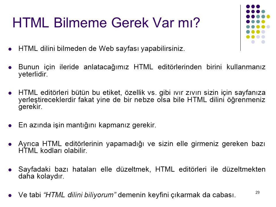 29 HTML Bilmeme Gerek Var mı? HTML dilini bilmeden de Web sayfası yapabilirsiniz. Bunun için ileride anlatacağımız HTML editörlerinden birini kullanma
