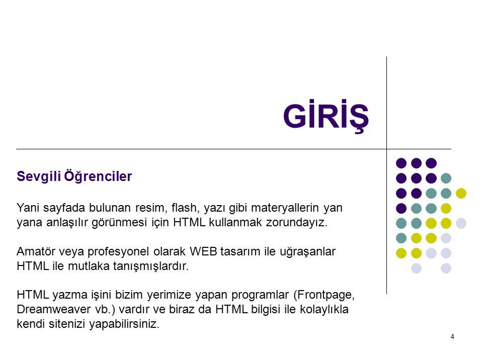 5 GİRİŞ Sevgili Öğrenciler HTML, programlama dilleri (pascal, basic vb.
