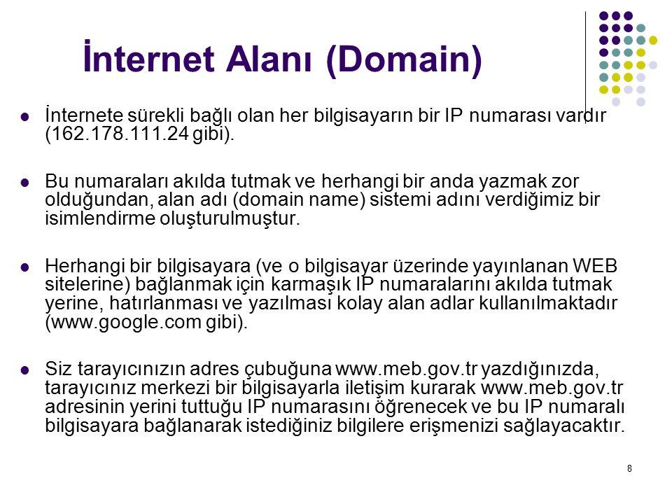 8 İnternet Alanı (Domain) İnternete sürekli bağlı olan her bilgisayarın bir IP numarası vardır (162.178.111.24 gibi). Bu numaraları akılda tutmak ve h