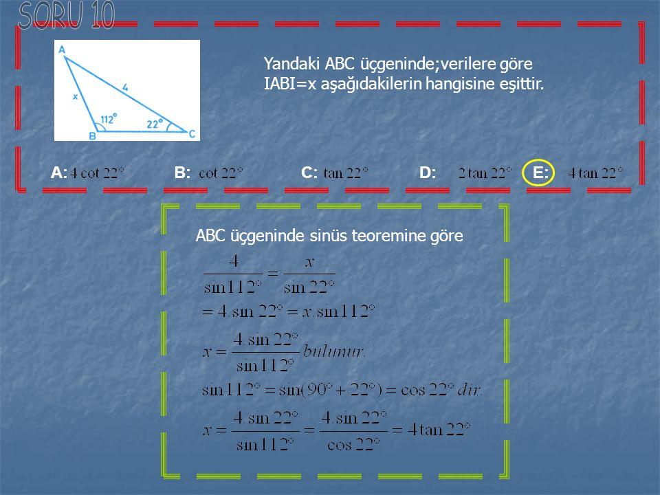 A: 16 B: 15 C: 14 D: 13 E: 12 Bir ABC üçgeninde b=6 ve c=4 ise, bu üçgenin alanı,en fazla kaç olur ABC üçgeninden, b=6 ve c=4 ise Bulunur. Olduğundan,