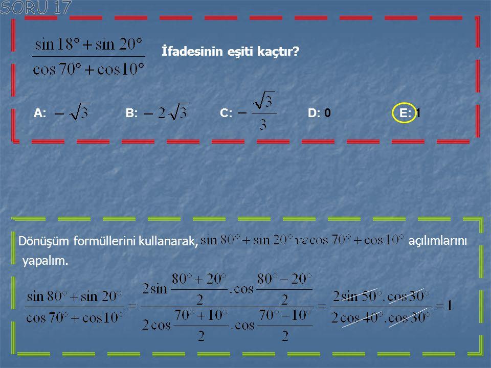 Yandaki şekilde ABCD karesinin bir kenar uzunluğu 6 birimdir. ICEI=IEBI ve IFVI=2 IAFI ise m(FDE) =x Kaç derecedir? A: B: C: D: E: Yandaki şekli dikka