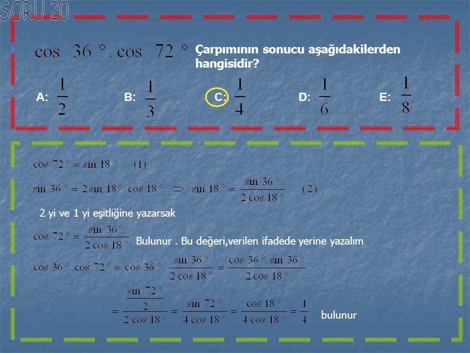 Yandaki şekilde;ABCD bir kare eşkenar üçgen be A, B, E noktaları doğrusaldır. IABI =2 IBEI olduğuna göre kaçtır?