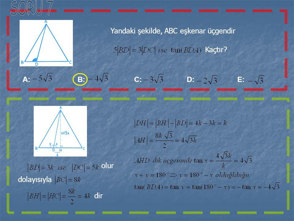 Denkleminin çözüm kümesi,aşağıdakilerden hangisidir? A: B: C: D: E: