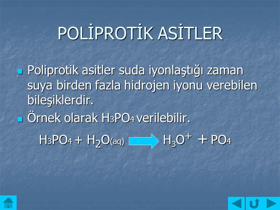 Dİ ASİTLER Suda iyonlaştığı zaman suya iki tane hidrojen iyonu verebilen bileşiklerdir. Suda iyonlaştığı zaman suya iki tane hidrojen iyonu verebilen
