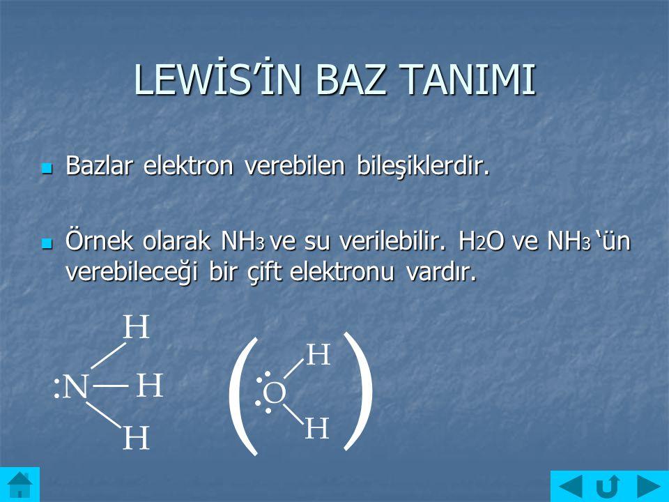 ARRHENİUS'UN BAZ TANIMI Bazlar sulu çözeltilerine OH¯ iyonu verebilen bileşiklerdir. Bazlar sulu çözeltilerine OH¯ iyonu verebilen bileşiklerdir. Örne