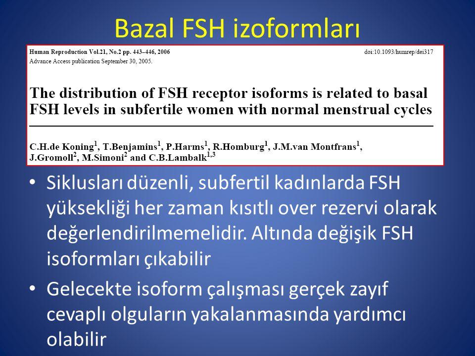 Bazal FSH izoformları Siklusları düzenli, subfertil kadınlarda FSH yüksekliği her zaman kısıtlı over rezervi olarak değerlendirilmemelidir. Altında de