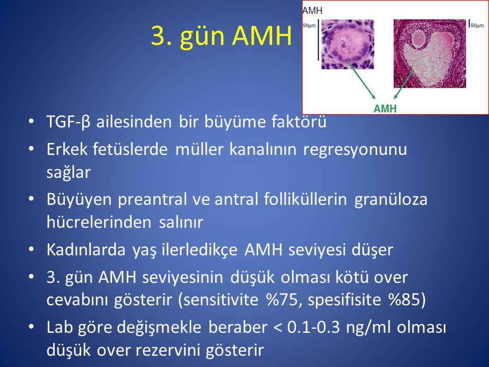 3. gün AMH TGF-β ailesinden bir büyüme faktörü Erkek fetüslerde müller kanalının regresyonunu sağlar Büyüyen preantral ve antral folliküllerin granülo