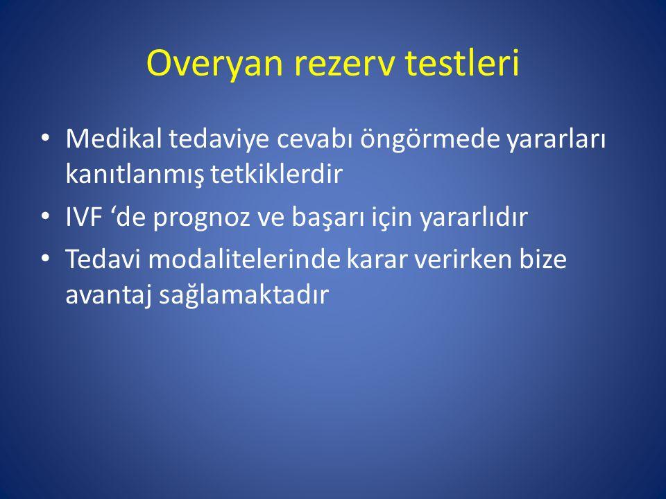 Overyan rezerv testleri Medikal tedaviye cevabı öngörmede yararları kanıtlanmış tetkiklerdir IVF 'de prognoz ve başarı için yararlıdır Tedavi modalite