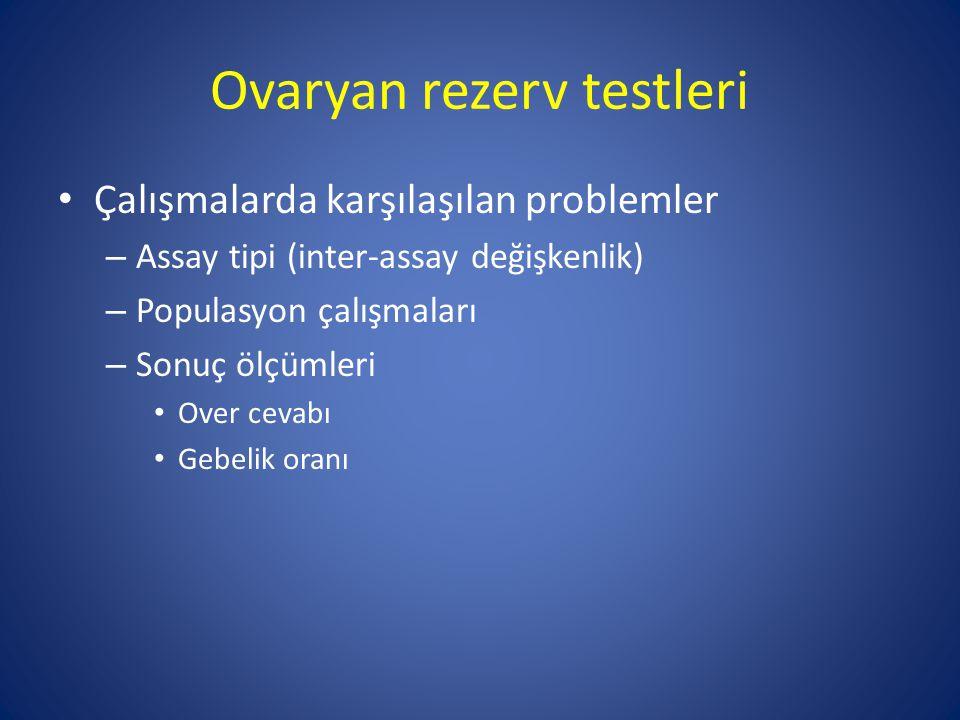 Ovaryan rezerv testleri Çalışmalarda karşılaşılan problemler – Assay tipi (inter-assay değişkenlik) – Populasyon çalışmaları – Sonuç ölçümleri Over ce